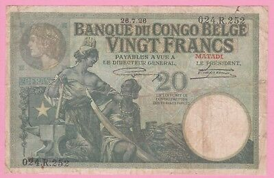 20 Francs Belgium Cono Matadi 1926!!rare Banknote!!hard To Find In This Quality!