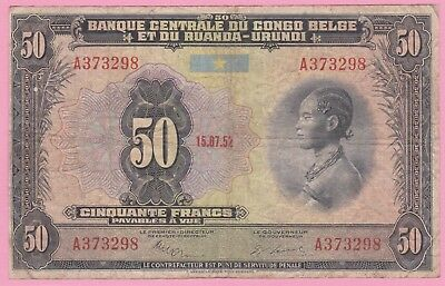50 Francs Belgium Congo 1952!hard Date To Find!!vf
