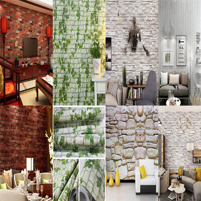 10m Wood Peel 3D Wallpaper Realistic Barnwood Brick Rolls Stone Textured Decor