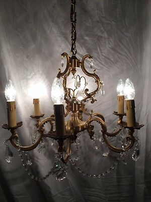 Large Antique French Louis XV bronze 6 arms light chandelier crystal pendants