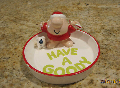 """1981  VINTAGE ZIGGY CHRISTMAS HOLIDAY DISH WITH FUZZ """"Have A Goody"""""""