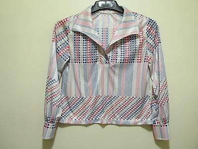Vtg 60s 70s DISCO Mod psychedelic silky pullover Shirt Top L