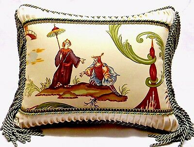 Couwtan & Tout fabric, Chinoiserie Toile Designer accent Pillow