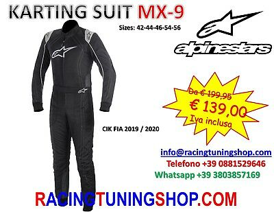 Tuta Kart Alpinestars Cik Fia Omologata Mx9 - Karting Suit From 42 To 56