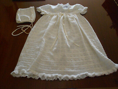 """Baby Christening Outfit Vintage White 1-Piece + Hat/Cap """"S"""""""