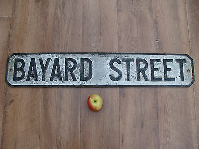 Vintage Cast Aliminium Street Sign BAYARD STREET Garden Decor Pub Cafe Office