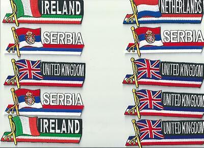 Lot Of 10 Assorted Country Cloth  Patches ~ Uk ~ Netherlands ~ Serbia ~ Ireland