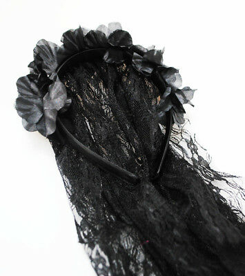 Day of the Dead Black Gothic Halloween Party Flowers Rose Veil Headband IL181