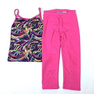 Girls Danskin Freestyle Sz Medium (7/8) Gymnastics Outfit Top Leggings Pink