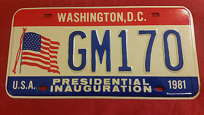 1981 District Of Columbia Gm170 General Motors  Inaugural License Plate