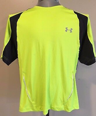Under Armour Heat Gear Shirt Mens Medium Lime Green Black Polyester Reflective