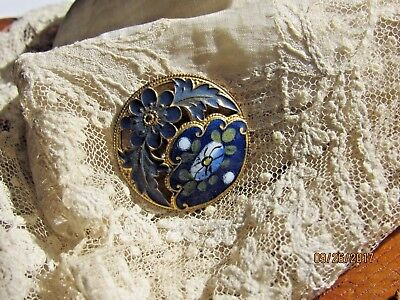 Antique enamel brass button w/paint blue flowers old vintage buttons sewing