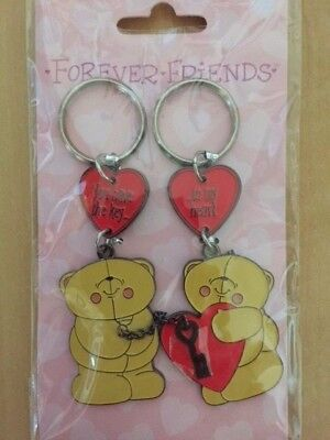 New FOREVER FRIENDS Bears Pair Key Rings 'You have the key' & '..to my heart'.