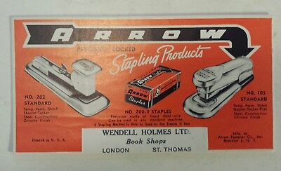 """Rare (London) """"arrow Stapling Products - Wendell Holmes"""" Advertising Ink Blotter"""