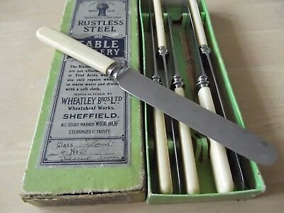 Vintage set of 6 dessert knives - Boxed - Wheatley Brothers, Sheffield