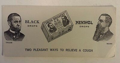 """Rare Canadian """"smith Brothers Black & Menthol Cough Drops"""" Advertising Blotter"""