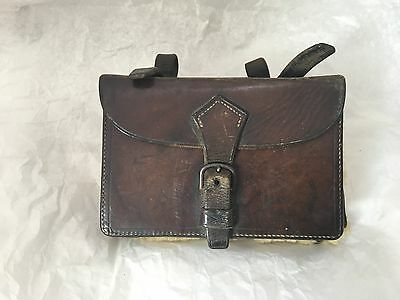 ANTIQUE EDWARDIAN HUNTSMAN SANDWICH TIN in leather pouch by RYMER of YORK