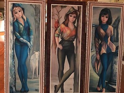 Maio Mid Century Big/Eyed Young Girls Lot Of 3