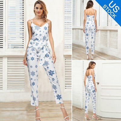 7b907093f9 Women 2 Piece Outfits Sleeveless Floral Print Crop Top Pants Set Casual  Jumpsuit