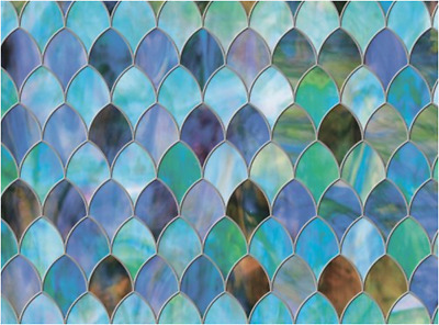 "Brewster Peacock Window Privacy Film Textured & Stained Glass Effect 11.5"" x 78"""