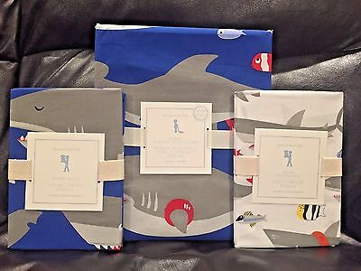 NEW Pottery Barn Kids Shark Toddler Duvet Cover, Standard Sham and Pillowcase