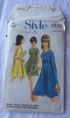 1960's Style no.1932 dress pattern high-line bodice in 3 styles size bust 34
