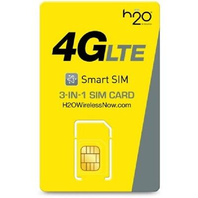 H2O Wireless Tri Sim Card + Preloaded With 30 Days Of Unlimited Service (4Gb)