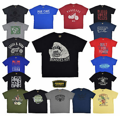 The Foundry Big /& Tall 2 Tone Big Man/'s Crew Neck T-Shirts in Black Size LT