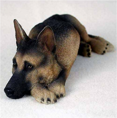 Tan&Black German Shepherd My Dog Realism Painted Figurine Home Decorative Statue
