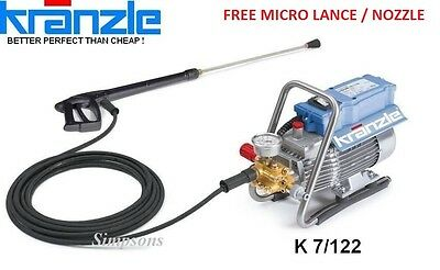 Kranzle K7/122 High Pressure Cleaner - FREE Micro Nozzle & Lance Connector