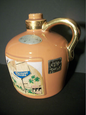 Ezra Brooks 1972 Heritage China Hand Crafted 24 Karat Gold Liquor Pottery Jug