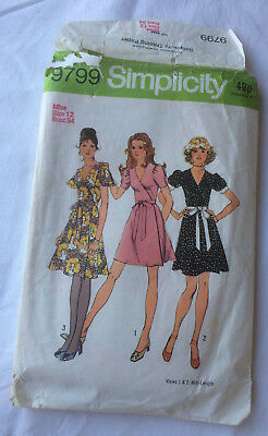 Simplicity no. 9799 pattern wrapover dress in 3 styles & 3 sleeves size Miss 12