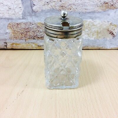 Vintage Glass Mustard Condiment with EPNS Lid Marked
