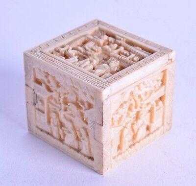 superb chinese carved bovine box - 19th c canton carved box - mid 19th century