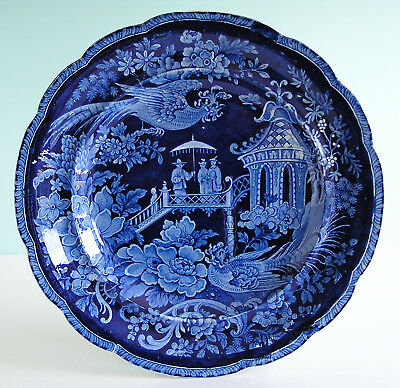 E Wood Staffordshire Pearlware Dark Blue Transferware Chinoiserie Dinner Plate