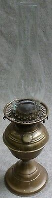 Antique British Brass Duplex Oil Lamp With Gallery and Griffin Glass Chimney