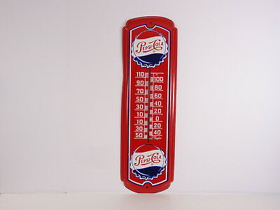 Vintage Pepsi-Cola Thermometer Advertising Metal Tin Sign