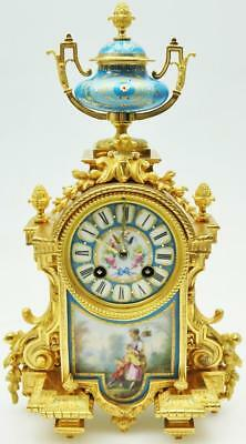 Antique French Ormolu Sevres Mantel Clock - Solid Bronze 8 Striking Mantle Clock