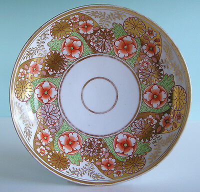 Antique English Porcelain Bowl Handpainted Floral Design and Rich Gilding c1800