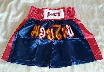 THAIBOXING MUAY THAI HOSE Kampfsport Thai Boxing Thaiboxen in Navy Blue Rot XXL