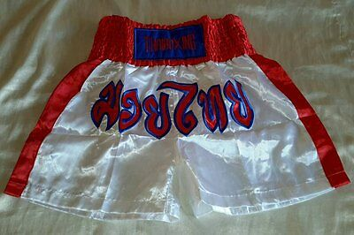 THAIBOXING MUAY THAI HOSE Kampfsport Thai Boxing Thaiboxen in Weiss Rot Gr. L