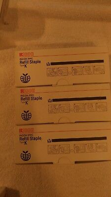 3 RICOH STAPLES,  #410802, Ricoh PPC,  Type K,  Refill Staples