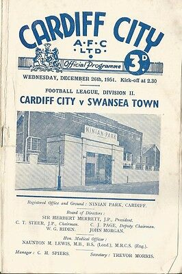 CARDIFF CITY v SWANSEA TOWN 1951/52