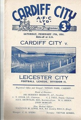 CARDIFF CITY v LEICESTER CITY  1950/51