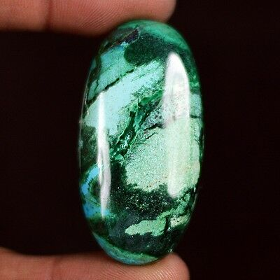 81ct High Grade Antique Natural Malachite in Chrysocolla Oval Cabochon QD50