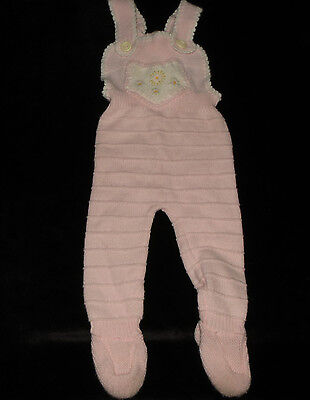 Precious Vintage Knit Footed Long-All Romper Pink Ribbed Approx 6 Months Evc