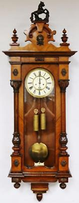 Solid Walnut Viennese Vienna Dial Wall clock Twin Weight Regulator Wall Clock