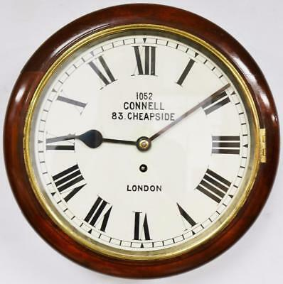 English Fusee Dial Wall Clock 1052 Connell 83 Cheapside Elliott Station Clock