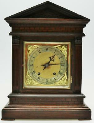 Oak Architectural Bracket Clock Quarter Striking On 2 Coiled Gongs Mantel Clock