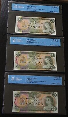 3x 1979 $20 Canada Bank Notes CCCS Certified UNC-65 Gem Uncirculated